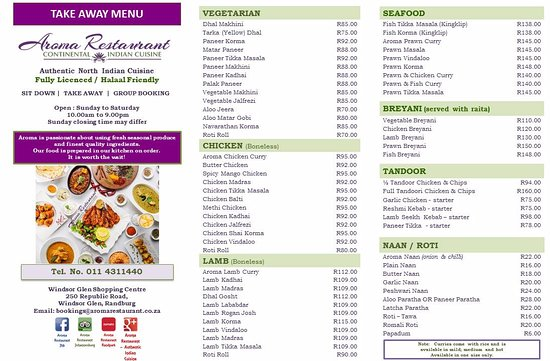 Our exciting new take away menu page 1 picture of aroma for Aroma indian cuisine menu