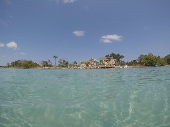 Ambergris Caye, Belize: Looking back at the bar/restaurant from out in the water