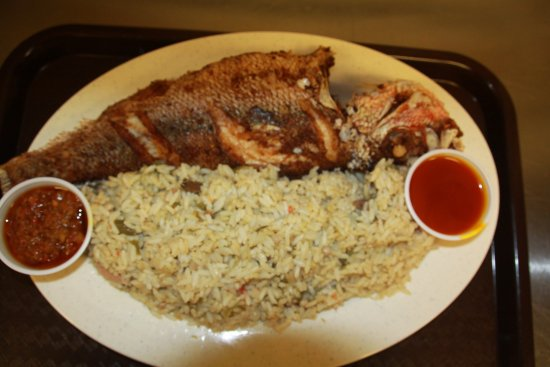 Lawrenceville, GA: Dry rice with fried fish