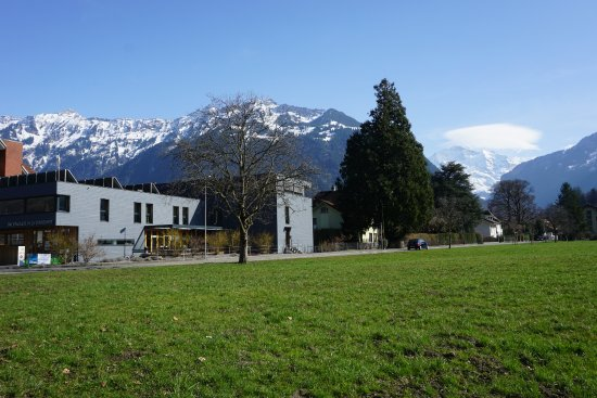 Backpackers Villa Sonnenhof: Taken from across the road showing the mountains at the back of the hostel