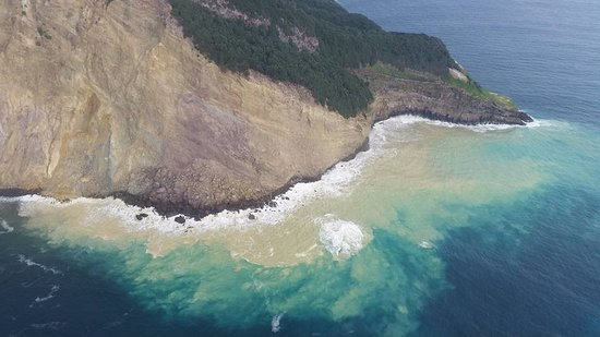 Whakatane, New Zealand: Water discoloration from an undersea vent