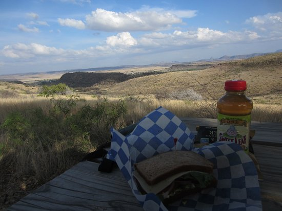 Stone Village Market : Deli sandwich with a view.