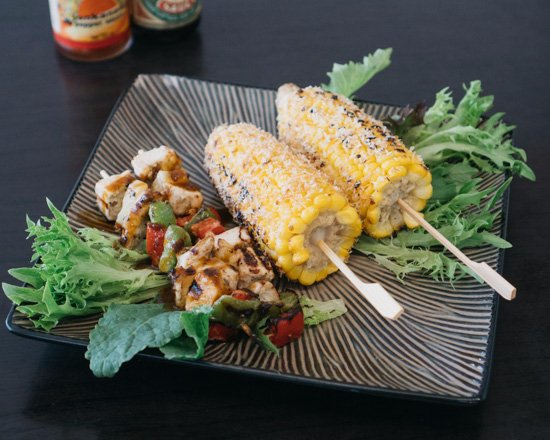 Mermaid Waters, Australia: Reggae Skewers with Pickapeppa Spicy Mango Chutney and Jerk BBQ Corn rolled in Roasted Coconut