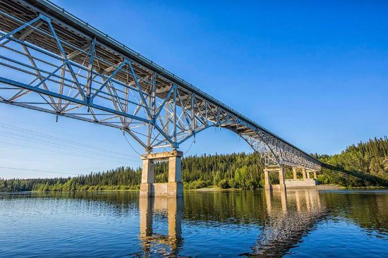 The Teslin River Bridge located just beside Johnson's Crossing Lodge