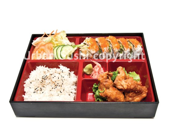 bento box chicken karaage picture of urban sushi vancouver tripadvisor. Black Bedroom Furniture Sets. Home Design Ideas