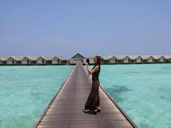LUX* South Ari Atoll: ロマンティックプール付き水上ヴィラへの桟橋からの眺め(東南向き)