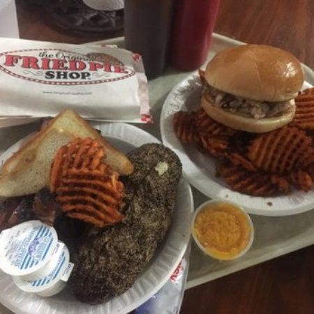 Greenville, TX: Rib Plate with a Baked Potato and Sandwich Basket with Sweet Potato Waffle Fries