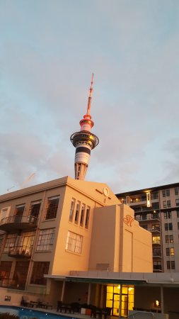 Heritage Auckland: View of Sky Tower from pool terrace