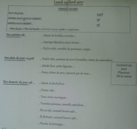Le Menu Du Avril Picture Of La Table De JF Caen TripAdvisor - Table 24 menu
