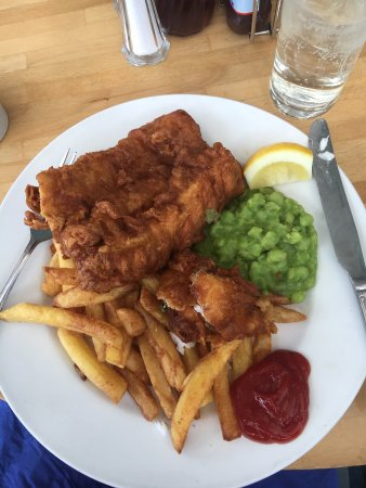 St Mawes, UK: Beer battered fish and chips at The Rising Sun