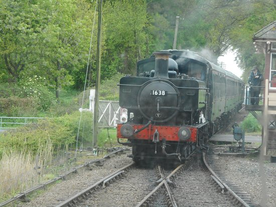 Tenterden, UK: Pannier tank passes by the DMU.