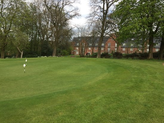Worsley, UK: A view of part of the back from the golf course