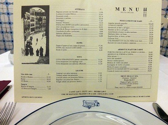 Restuarant Botin: menu