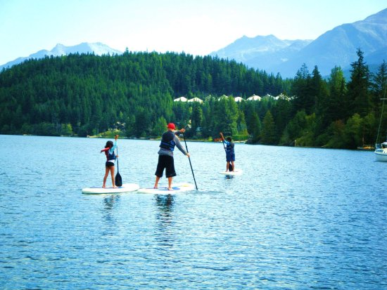 Four Seasons Resort and Residences Whistler: SUP boarding in Whistler with the kiddos!
