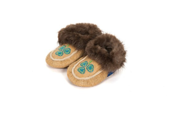 Surrey, Canada: Authentic Native Made traditional smoked moosehide moccasin by Northwest Territories Natives