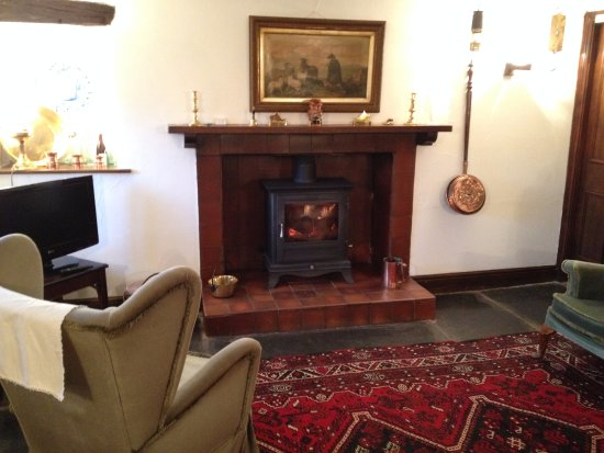 Near Sawrey, UK: Log fire in the lounge
