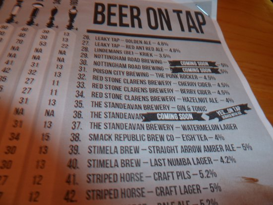Centurion, Afrique du Sud : Craft beer menu