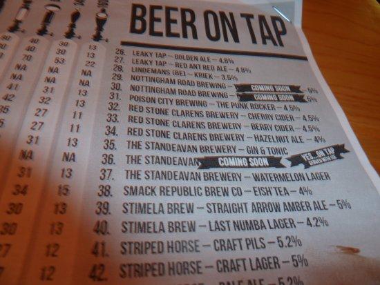 Centurion, South Africa: Craft beer menu