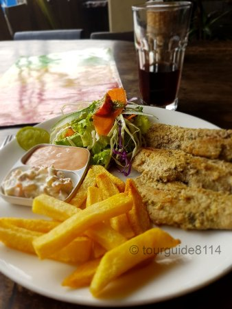 Buzz Reggae Bar: Gebratener Fisch mit Salat und Chips