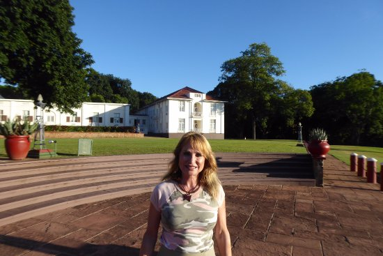 The Victoria Falls Hotel: Hotel Rooms behind me. I'm facing the gorge