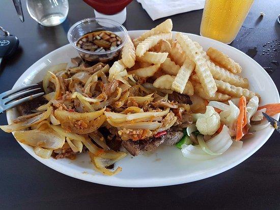 Agat, Mariana Islands: Жареная свинина с грибами и картошкой