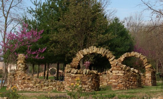 Marion, IL: Stone sculptures at Mandala Gardens. Infinity Arch and Moongate, designed by Thea Alvin