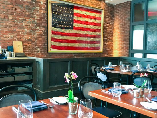 Summit, NJ: A 45-star American Flag from 1896 hangs in our café, upon brick that is just about the same age.
