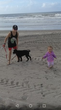 Papamoa, New Zealand: My kids and George the Puppy.