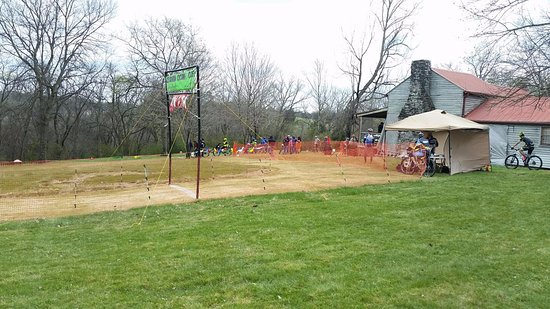 Columbia, TN: Finish line at the Chickasaw Trace Classic MTB race
