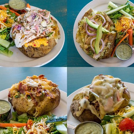 Mount Pleasant, TX: Monday Special: baked potato w/ side salad. Shown are Cajun Gobbler, Tex-Mex, Classic, & Philly