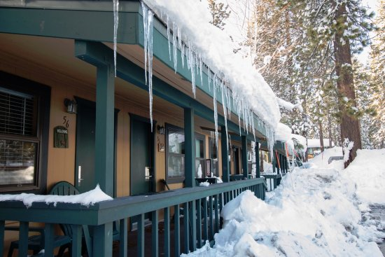 Tahoe Vista, Kaliforniya: Forest side cabins are across the street from the lake.