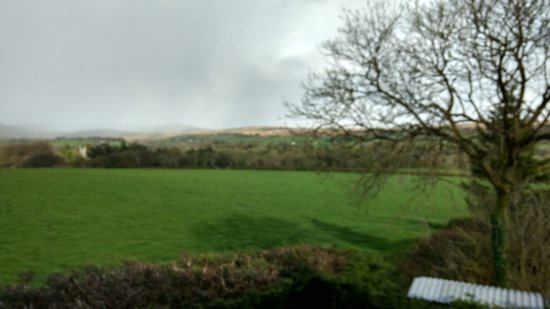 Lydford, UK: View over fields.
