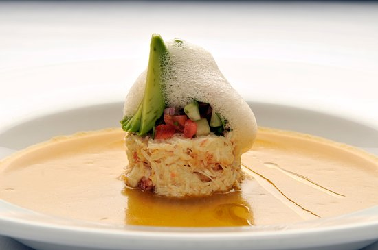 """Goldener Hirsch Restaurant: """"Soup and Salad"""" with Peekytoe Crab Salad and Charred Tomato Gazpacho"""