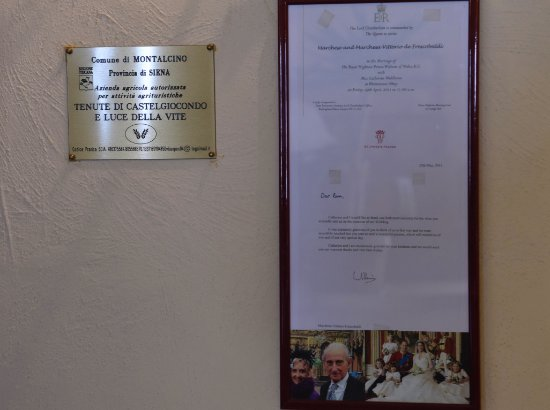 Montalcino, Italy: Thank you note from HRH Price of Wales to the Frescobaldi for their presence and the wine at his