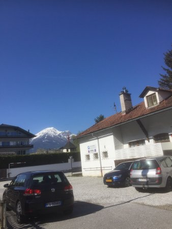 Bon Alpina: Gym, playroom, Igls views, on the way to Innsbruck by bus, view from plane window of the Alps ju
