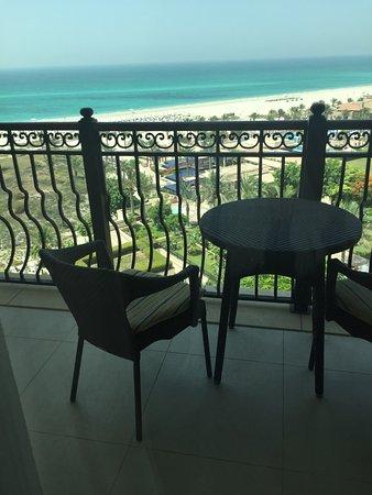 The St. Regis Saadiyat Island Resort: Balcony with the view (look at the bluest sea!)