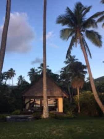 Beqa Island, Fiji: View of our small cottage at sunset