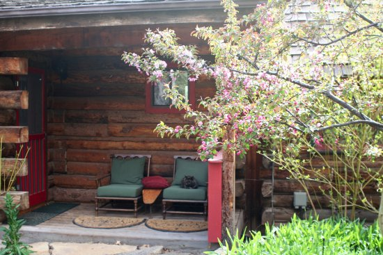 Mancos, CO: Lakehouse back deck looking to garden, spring crab