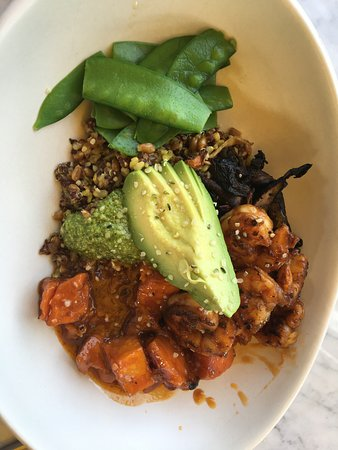 True Food Kitchen Bowls ancient grains bowl (added pesto and grilled shrimp) - picture of