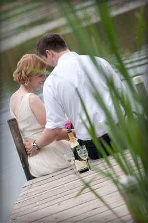 Abode at Willowtail Springs: Bride and groom after their ceremony
