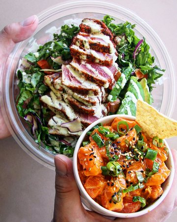 Aliso Viejo, CA: Blackened Ahi Bowl and Spicy Salmon Poke.