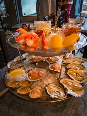 Seafood tower at B&G with oysters, two types of clams and more