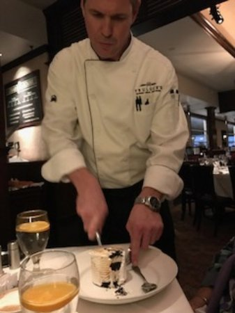 Baked Alaska Being Disassembled By Waiter Picture Of Truluck S Ocean S Finest Seafood Crab Houston Tripadvisor