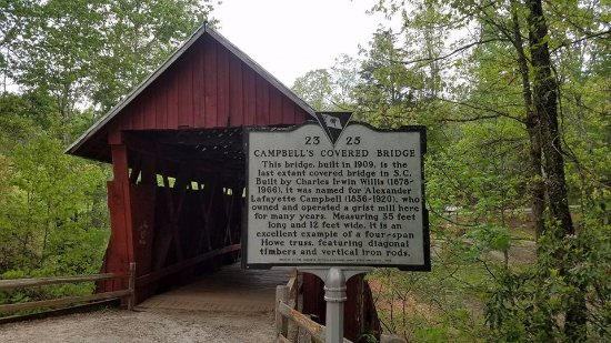 Landrum, Karolina Południowa: A brief history about Campbell's Covered Bridge.