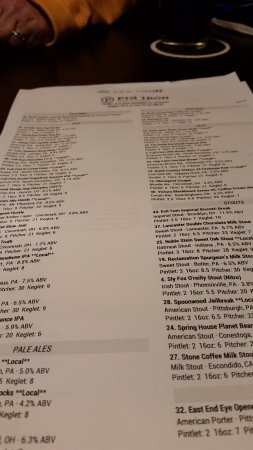 Cranberry Township, Pensilvania: beer menu