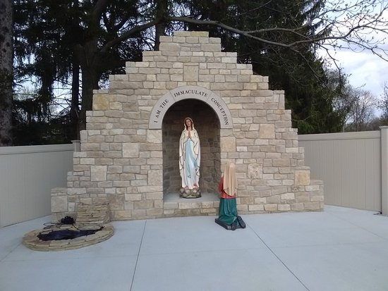 Canton, OH: Lourdes grotto. New this Spring. Wow. Beautiful.  Don't miss it in the backyard.