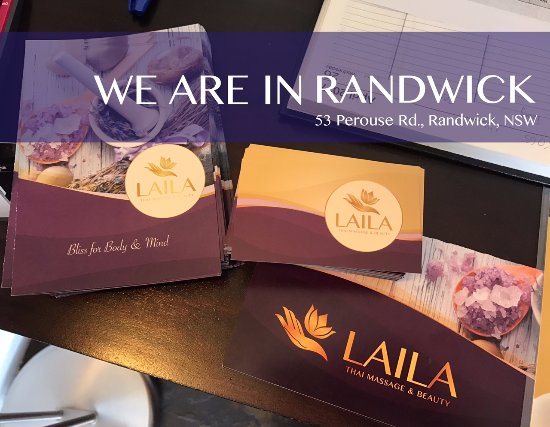Thai massage Randwick. LAILA Thai Massage & Beauty has new menus and brochures