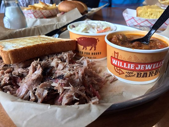 Nashua, NH: BBQ pulled pork platter with slaw and Brunswick stew