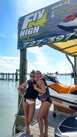 Fly-N-High Waverunners and Parasail: Girls ready to Fly-N-High on jet ski