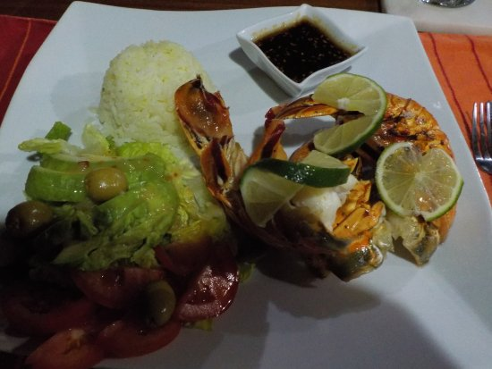 Mango Creek Lodge: Incredibly moist grilled lobster with seseme sauce